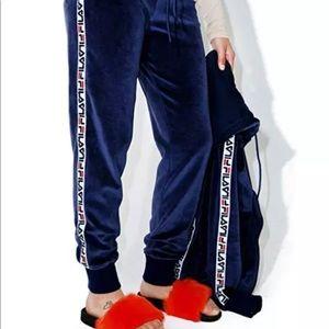 FILA velour jogger logo pants navy blue